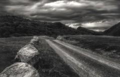 Sandstrak I (A.Husvaer) Tags: dønna norge norway helgeland sandstrak clouds bw mon monochrome road stones montain samyang 12mm