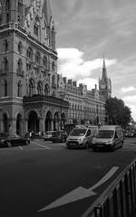 kings cross (douglasjarvis995) Tags: norfolk holiday london stpancras railway england black blackandwhite fuji 18mm taxi road building travel