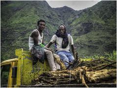 Free ride (Luc V. de Zeeuw) Tags: ethiopia freeride hitchhike man mountain truck wood yellow northwello amhara