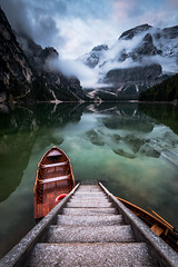 Dolomites (Alain.Keller_Photography) Tags: mountains nature alps snow dolomites italy southtyrol lagodibraies green forest autumn fall boat house wellknown famous reflections