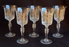 Fine Stevens & Williams Cut Crystal Water Goblets ~ Willow (Donna's Collectables) Tags: fine stevens williams cut crystal water goblets ~ willow