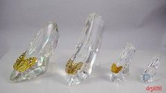 Various Faceted Live Action Cinderella Slippers (drj1828) Tags: us disneystore disneyparks cinderella liveactionfilm slipper ornament faceted butterfly purchase arribas comparison crystal limitededition swarovski
