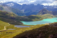 Hike to the three lakes (mark.paradox) Tags: switzerland bernina alps lakes view colors nature landscape beauty mountain hills clouds sea water glacier hike travel passodelbernina montagne paessagio lago           looklevel8gold