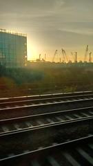 Sunrise - Battersea (Mrs Bs Photos) Tags: battersea sunrise morning cranes