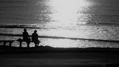 Old Lovers (Rand Luv'n Life) Tags: torrey pines state beach san diego california people friends lovers sitting bench sunset evening ocean shinning monochrome black white solitude waves outdoor