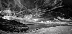 Confusion in the sky ! (TrevKerr) Tags: nikon d7000 nikon105mm fisheye monochrome blackandwhite bw weather sky clouds piethornereservoir rochdale lancashire landscape