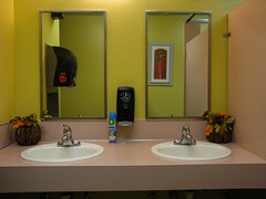 Invisible Woman and Two Sinks (prima seadiva) Tags: restroom mirror sinks invisible reflection empty