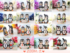 Unique wedding cake toppers Penguins - cute personalized custom handmade elegant funny (PassionArte) Tags: unique penguin animal pet handmade etsy clay modellingclay arte azzurro acquista art avorio animals autumn spring sposi novios bride groom coral blue royalblue gold pink black white red silver sunflowers toppers tophat