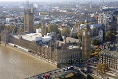 View from London Eye (veronicajwilliams photography) Tags: veronicajwilliamsphotography veronicajwilliams travelphotography travel canon canon5dmarkii canon2470mm canon2470mmf28l london uk britain elizabethtower bigben westminsterpalace clock bridge