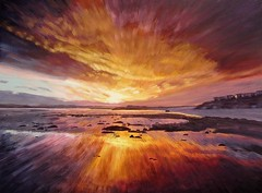 Christmas Eve 2013 Sunset on Garryvoe Beach (niall mccarthy) Tags: sunset speed painting dramatic irish garryvoe beach ardnahinch eastcork ireland strand shore light daylight pulled effectniallmccarthy colorful colourful realism zoom realistic photorealism photorealistic