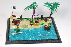 Pirates Paradise (dr_spock_888) Tags: lego moc pirates beach cannon rum sandcastle surfing parrot monkey chicken frog clam