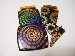 stencila & mica powder (LynzCraftz) Tags: polymerclay pendant resin art acrylicpaint oneofakind handmade