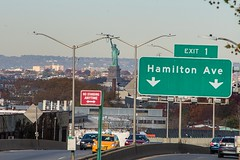 Statue of Liberty (stenaake) Tags: brooklyn statueofliberty nyc newyork harbor city street sign newyorkcity america us usa exit1 hamiltonavenue streetsign streetlight view taxi car road taxis highway