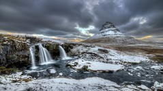 Kirkjufell Mountain and River, Iceland (BitRogue) Tags: nikon d800 iceland winter capturenx2 grundarfjrur snow river waterfall kirkjufell snfellsnes photomatix hdr landscape outdoor mountain clouds samyang 14mm