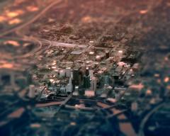 urban crawl (enhanced) (Jo Borlan) Tags: city downtown aerial overhead buildings metropolis structures skyscrapers tiltshift glow