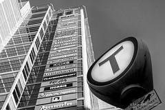The Tube (Morten Mitchell Larød) Tags: urban bw monochrome sign oslo facade subway blackwhite metro no streetphoto skilt oslocity fasade streetphography tbanen kingdomofnorway niksilverefex streettogs