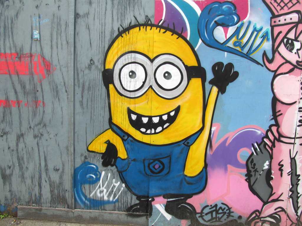 Minions Pefkosmad Tags City Uk England Urban Streetart Pasteup Public Graffiti Character Cartoon