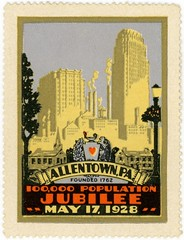 One Hundred Thousand Population Jubilee Poster Stamp, Allentown, Pa., May 17, 1928 (Alan Mays) Tags: old 1920s orange building yellow vintage ads paper advertising hearts typography skyscrapers pennsylvania stamps antique lavender illustrations ephemera pa type artdeco lamps banners population advertisements 1928 fonts printed borders allentown typefaces 100000 may17 scrolls keystones cinderellastamps lehighcounty jubilees posterstamps 100000populationjubilee populationjubilee