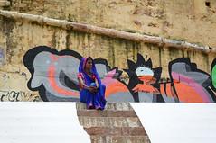 Indian woman in traditional sari at Varanasi (phuong.sg@gmail.com) Tags: street old portrait woman india house home cane female rural asian person graffiti bucket asia village veil floor outdoor indian traditional bricks headscarf steps young ground clean dirt doorway sit varanasi stick shari saree spectacles sari slippers gujarat wrinkled ghat godwar gorwar
