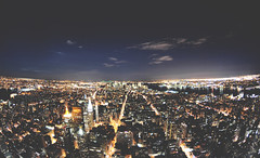 NYC from Empire State Building (shaymurphy) Tags: new york city nyc newyorkcity sky usa moon newyork building night clouds america skyscraper buildings lights noche amrica nikon long exposure state nacht manhattan fisheye empire 105 amerika stad scraper  viewfromabove       lamerica lamrique  nikkor105fisheye nikond300