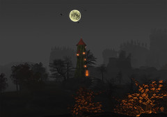 Seasonal Colors at 21strom (zuza ritt) Tags: autumn moon tower fall halloween colors pumpkin seasons seasonal bat haunted spooky secondlife hauntedhouse appletree falltree virtualworld autumntree virtuallandscape digitallandscape metaversum opensim opensimulator darkalndscape