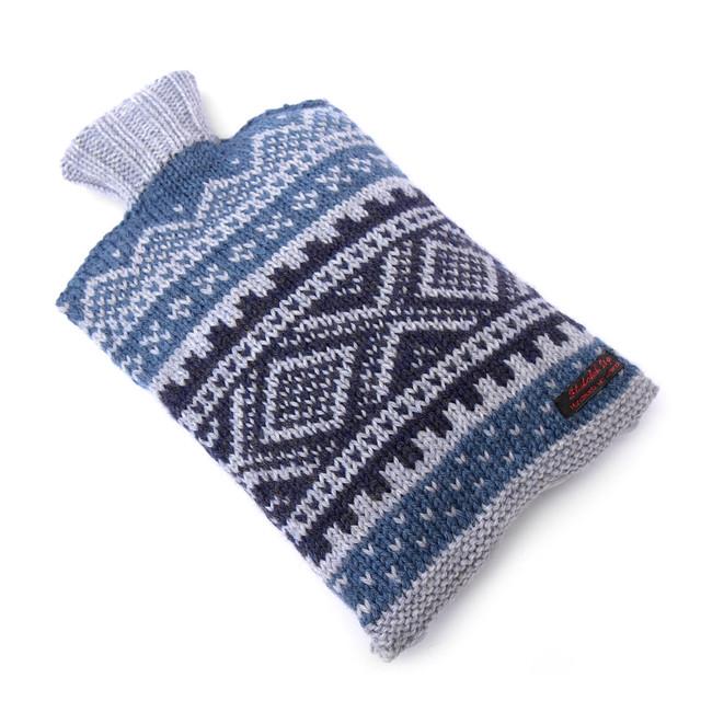 Hand knit Norwegian style hot water bottle cosy – blues