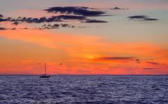 under a creamsicle sky (JimfromCanada) Tags: ocean blue sunset orange cloud sun lake ontario canada clouds sailboat one evening boat nikon alone peace sleep peaceful single sail bedtime lakehuron portelgin d800 jimsmith jimfromcanada