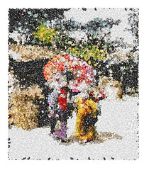 Emoji Mosaic Baby Sitting in Japan (sjrankin) Tags: japan umbrella children japanese mosaic edited historic handcolored babysitter processed filtered emoji emojimosaic 9october2015