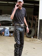 BuckChaps-img-0607-skinny-ass-WEB (Bones on the Great Plains) Tags: leather skinny wranglers biker blacktshirt chaps runt skinnyarms leatherbelt skinnydude skinnyrunt bikerchaps wranglercowboyjeans