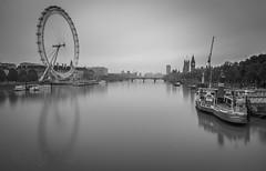Hungerford Bridge #1 (G&R) Tags: white black london eye monochrome wheel thames canon river long exposure millenium 5d3