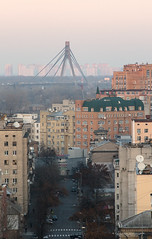 Kyiv architecture (G. Taras) Tags: road street door city bridge trees roof sleeping red sky people panorama plant building tree brick green cars car skyline canon buildings photography grey photo downtown day colours traffic d70 driver kyiv dayout streetlevel blockofflats dniper gtaras