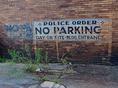 Police Order, East Liverpool, OH (Robby Virus) Tags: eastliverpool ohio ghost sign faded painted signage no parking police order alley day nite bldg entrance