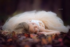 You can rest with me until a brighter day, when your ok. (daniwaage) Tags: fall girl leaves forest woods child lashes dress little sleep innocent iowa