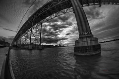 Detroit River Drama (_Matt_T_) Tags: bw weather clouds pentax explore windsor 74 rokinon8mmf35 nikhdrefexpro2 k5iis singlechallenges sinov15
