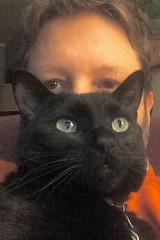 me and Gus the cat (swampzoid) Tags: pet black cat blackcat mark greeneyes gus denton augustus catman catowner swampzoid markdenton