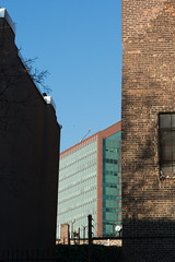 everything leans (molybdena) Tags: autumn shadow newyork building brick glass architecture brooklyn afternoon parkslope edifice