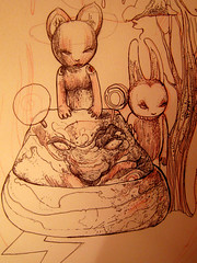 ALEISTER236U (mc1984) Tags: bear tree rabbit nature animals ink flickr dessin mc1984