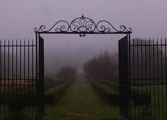 Foggy  welcome (chriskatsie) Tags: fog brouillard portail paris garden jardin atmosphère campagne