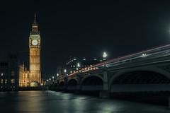 London's Iconic Big Ben & Westminster Bridge (Yooch) Tags: westminster london uk big ben bigben clock clocktower iconic landmark bridge night lighttrails river riverthames thames historic lights
