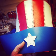 Making an American Uncle Sam tophat. #leathercraft #handmade #starsandstripes #leatherhat #hat #tophat #unclesam #usa (tovlade) Tags: face mask cyberpunk cyber goth make up goggles girl punk postapocalyptic postapocalypse black steampunk leather hand made larp cybergoth dieselpunk plague doctor