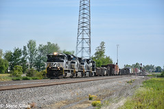 Ns 1035 drags a freight out of Attica Jct. (Machme92) Tags: ns norfolksouthern norfolk newpower ge emd railroad railfanning railroads railfans rails rail row railroading railfan