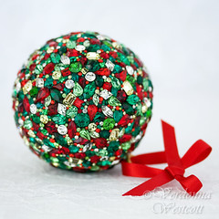 Christmas holiday luxury ornament table art Verdonna Westcott (Verdonna.com) Tags: christmas holiday ornament red green sparkling rhinestones hanging special stunning glass xmas mosaic orb sphere ball gold handmade