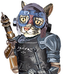 Naughty Pilot Cat with Laser Gun and Heavy Armor (Felis Simha) Tags: felissimha animal animals cat cats kitten kittens kitty pussy feline cateyes purr meow traveler travel adventure adventurer explore timeandspace timetravel timeagent whimsical adorable cute unique steampunk steampunkart goggles hamlet dagger gun lasergun armor heavyarmor love lovely humor kids children fantasy imaginary surreal scifi future animalportrait anthropomorphic oilpainting blue aviatorhat aviatorgoggles