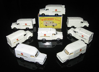 Lesney Matchbox #14 Bedford Lomas ambulance -8 variations