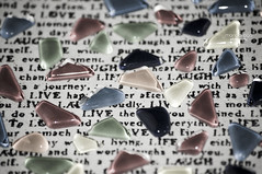 ... read between the lines (mariola aga) Tags: glass tile pieces letters words hue saturation softtones live life love laugh readbetweenthelines art thegalaxy