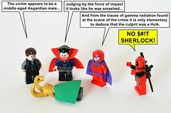 Marvelous Sherlocks (Oky - Space Ranger) Tags: lego marvel super heroes doctor steven strange avengers tony stark magneto deadpool loki hulk sherlock holmes