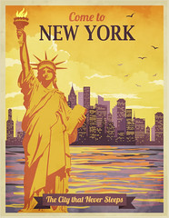 Travel to New York Poster - Vintage travel advertisement with New York City and Statue of Liberty ag (marcelloromano) Tags: ad advert advertisement advertising america architecturaldrawing architecture birds birdsvector birdvector bright buildings buildingvector cityskyline cityvector clouds drawing ellisisland handdrawn holiday landmarks liberty libertystatue marketing newyork newyorkcity newyorkskyline northamerica orange pencil pigeons postcard poster reflection retro retroposter sketchy sky skyline skyscrapers states statueofliberty sunny sunnysky tour tourism travel travelagency trip unitedstates usa vacation vector vectorillustration vintage vintagepostcard water watervector white yellow