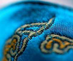 Stitched detail on a morning slipper (Margareta B.) Tags: stitch macromondays turquoise