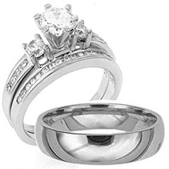 3 Pieces Men's Women's, His & Hers, 925 Sterling Silver & Titanium Engagement Wedding Ring Set, AVAILABLE SIZES men's 8,9,10,11,12; women's set: 5,6,7,8,9,10. CONTACT US BY EMAIL THROUGH AMAZON WITH SIZES AFTER PURCHASE! (goodies2get2) Tags: 50to100 amazoncom bestsellers sterlingsilver titanium toprated