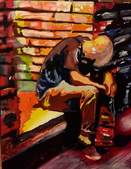 Oil on canvas. Depression in the alley. (eddiegomez1) Tags: arizona scottsdale artist hardtimes man alley drunk depression canvas eddiegomezartist oilpainting oilpaint oil art